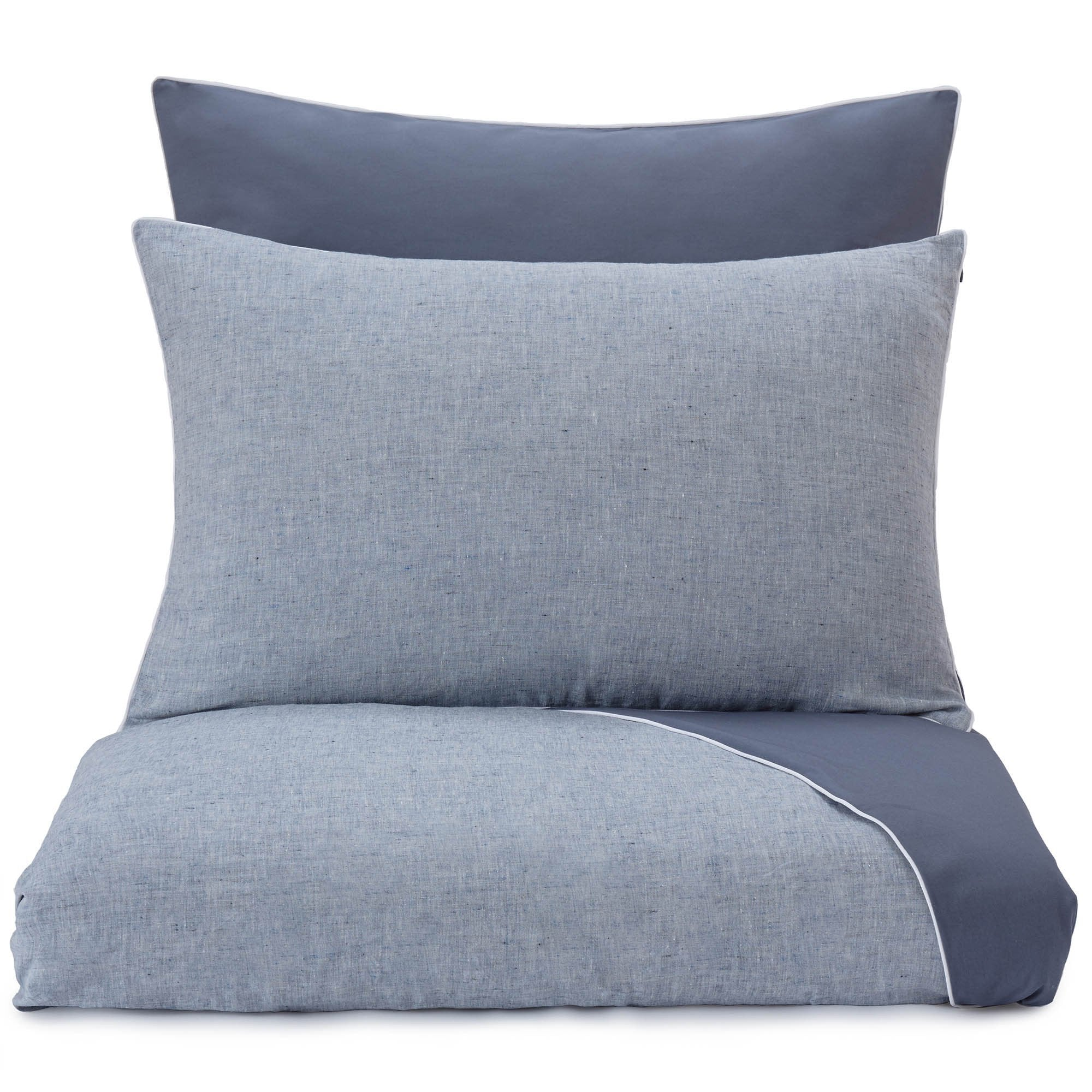 Sameiro duvet cover, dark grey blue & white, 100% linen & 100% organic cotton