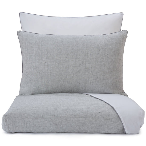 Sameiro pillowcase, grey & white & charcoal, 100% linen & 100% organic cotton