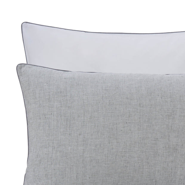 Sameiro pillowcase, grey & white & charcoal, 100% linen & 100% organic cotton | URBANARA linen bedding