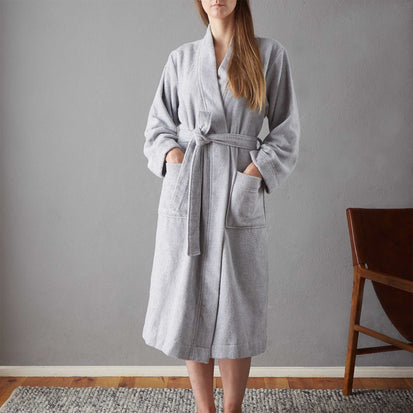 Ventosa Organic Cotton Bathrobe in grey & white | Home & Living inspiration | URBANARA