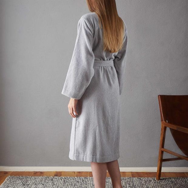 Ventosa Organic Cotton Bathrobe grey & white, 100% organic cotton | URBANARA bathrobes