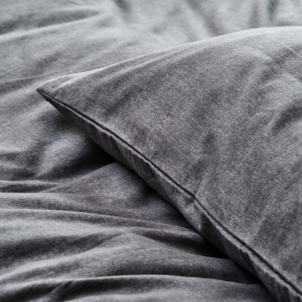 Vilar pillowcase in stone grey, 100% organic cotton |Find the perfect flannel bedding