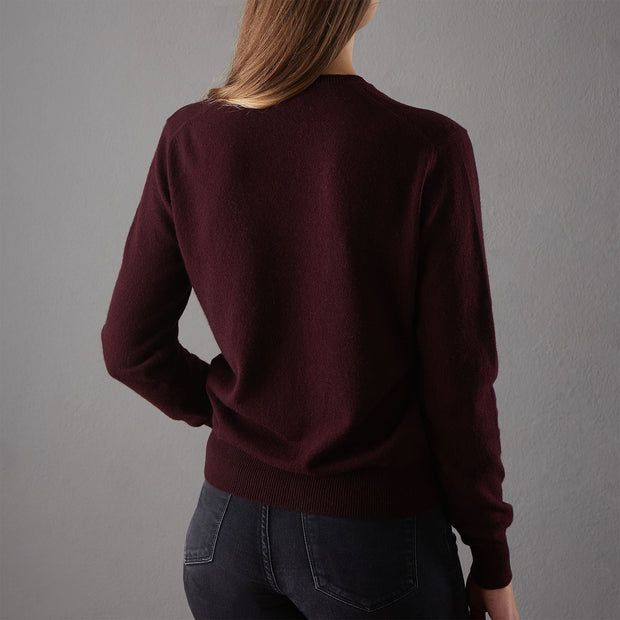 Nora jumper, bordeaux red, 50% cashmere wool & 50% wool | URBANARA loungewear