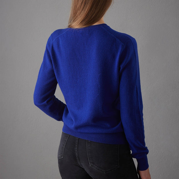 Nora jumper, royal blue, 50% cashmere wool & 50% wool | URBANARA loungewear