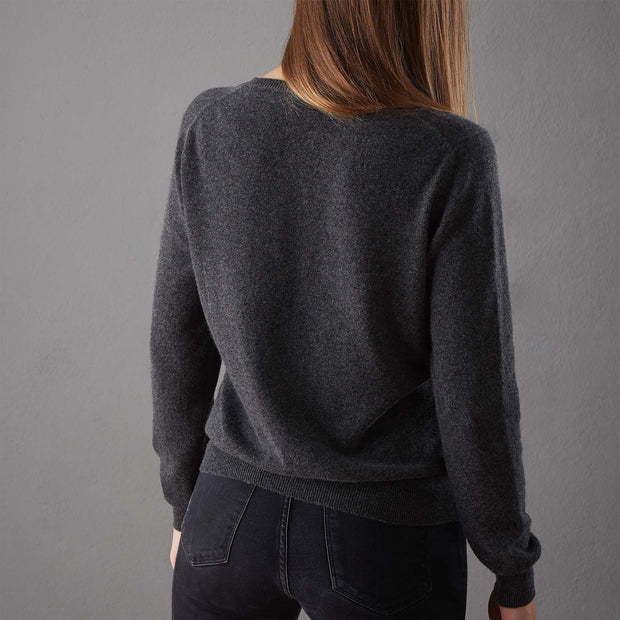 Nora cardigan, charcoal, 50% cashmere wool & 50% wool |High quality homewares