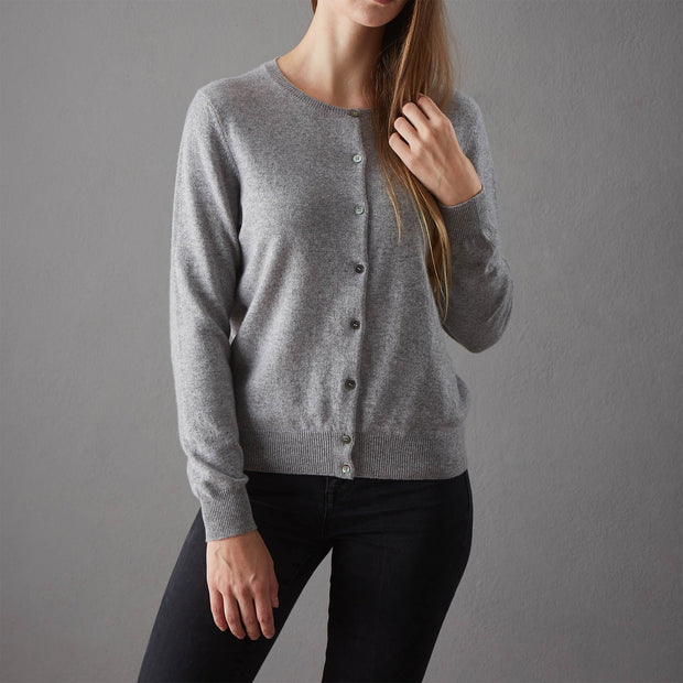 Nora cardigan, light grey, 50% cashmere wool & 50% wool | URBANARA loungewear