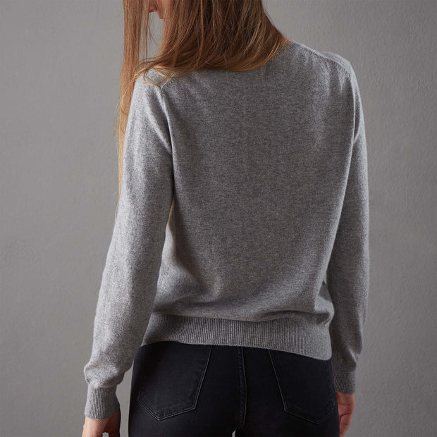 Nora cardigan, light grey, 50% cashmere wool & 50% wool |High quality homewares