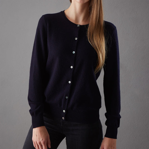 Nora cardigan, midnight blue, 50% cashmere wool & 50% wool |High quality homewares