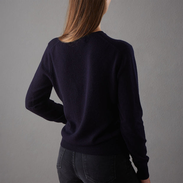 Nora cardigan in midnight blue, 50% cashmere wool & 50% wool |Find the perfect loungewear