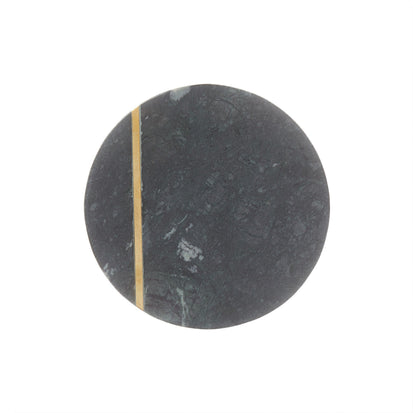 Koyna  coaster, green, 100% marble & 100% brass