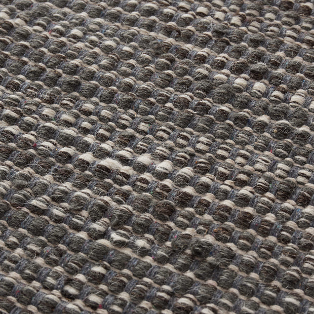 Kolong rug, grey green & chocolate & natural white, 100% new wool |High quality homewares