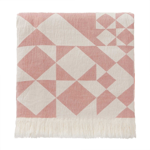 Amparo blanket, dusty pink & natural white, 100% cotton