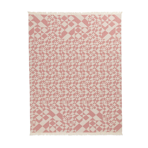 Amparo blanket, dusty pink & natural white, 100% cotton |High quality homewares