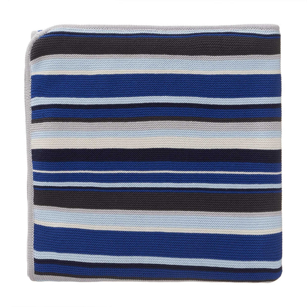 Valente blanket, dark blue & ice blue & silver grey, 100% cotton