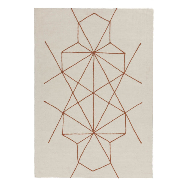 Alvoco rug, natural white & cognac, 90% wool & 10% cotton | URBANARA wool rugs