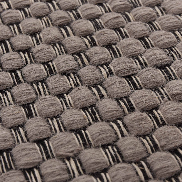 Kalanka rug, grey & black & natural white, 90% new wool & 10% cotton |High quality homewares