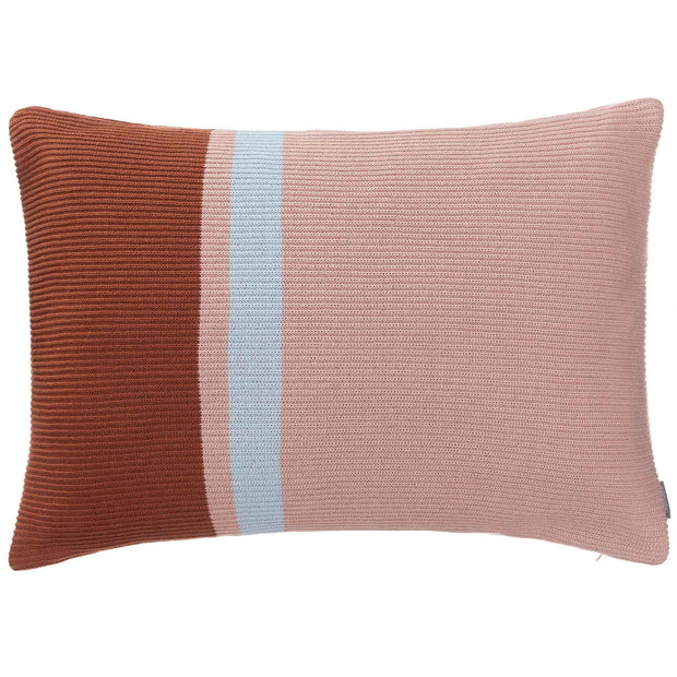 Zezere cushion cover, light pink & cognac & ice blue, 100% cotton