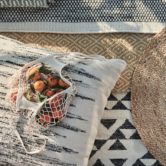 Natural white & Black Balotra Pouf | Home & Living inspiration | URBANARA
