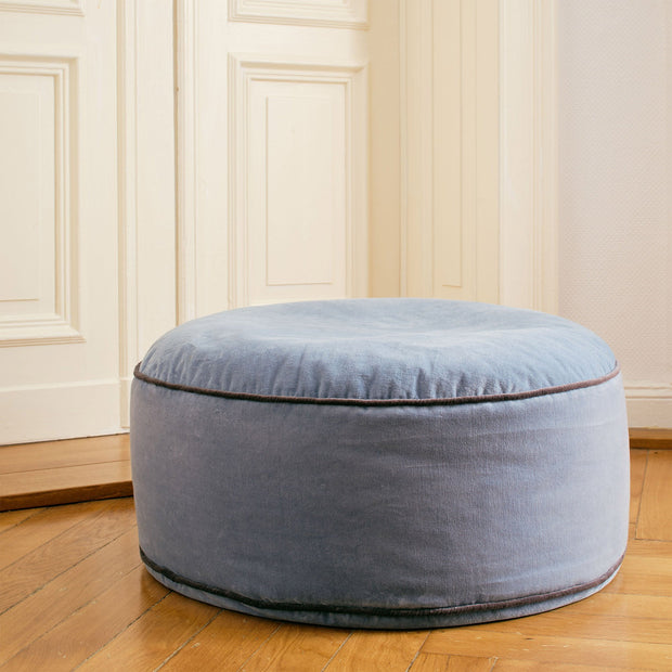 Blue grey & Dark grey Deomali Pouf | Home & Living inspiration | URBANARA