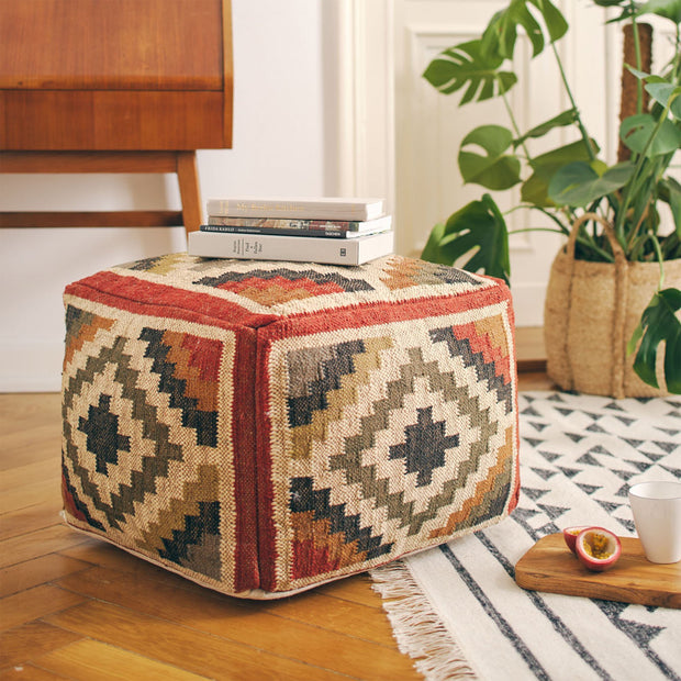 Rust orange & Sand & Olive green Gandaki Pouf | Home & Living inspiration | URBANARA