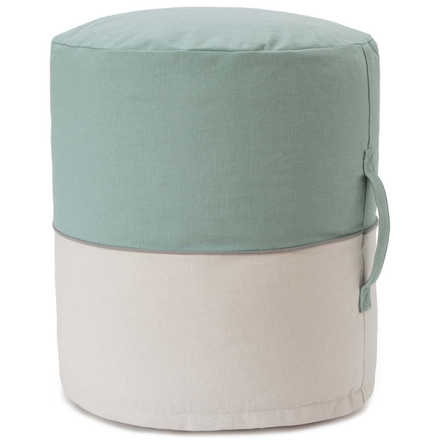 Parli pouf, light grey green & natural white & grey, 100% cotton