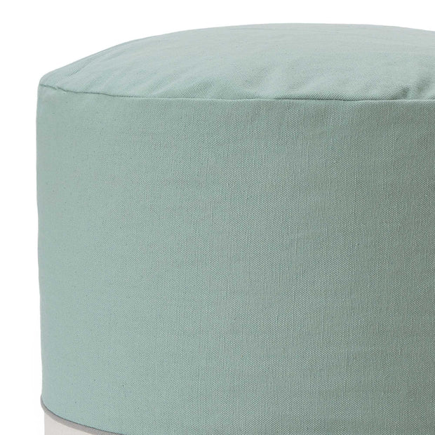 Parli pouf, light grey green & natural white & grey, 100% cotton |High quality homewares