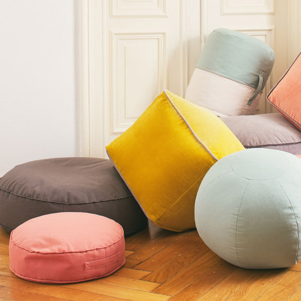 Parli pouf, light grey green & natural white & grey, 100% cotton | URBANARA stools & poufs