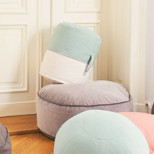 Light grey green & Natural white & Grey Parli Pouf | Home & Living inspiration | URBANARA