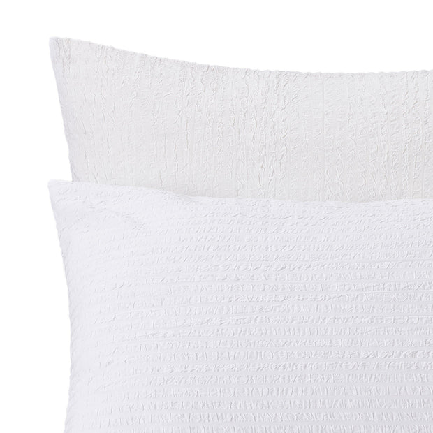 Ansei pillowcase, white, 100% cotton | URBANARA seersucker bedding