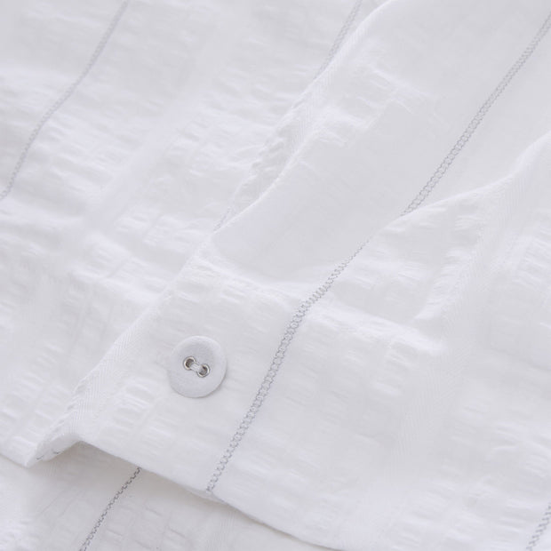 Altura duvet cover in white & silver, 100% cotton |Find the perfect seersucker bedding