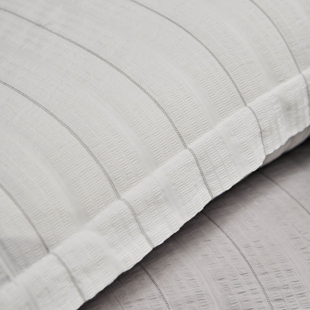 Altura duvet cover, white & silver, 100% cotton | URBANARA seersucker bedding