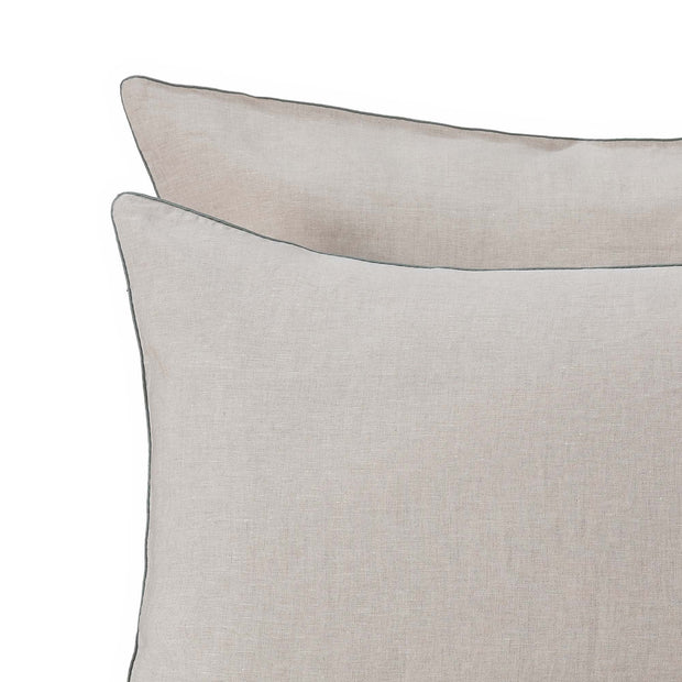 Alvalade pillowcase, natural & green grey, 100% linen |High quality homewares