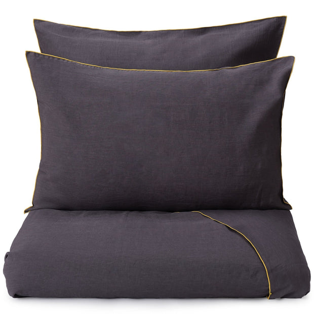 Alvalade duvet cover, dark grey & bright mustard, 100% linen