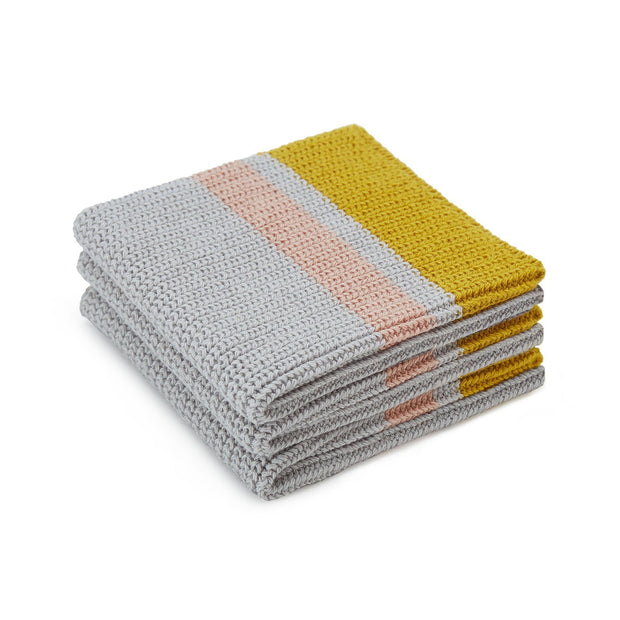 Estrela tea towel, silver grey & bright mustard & light pink, 100% cotton