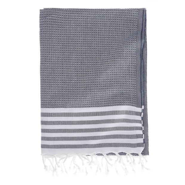 Kayseri hammam towel, dark blue & white, 100% cotton