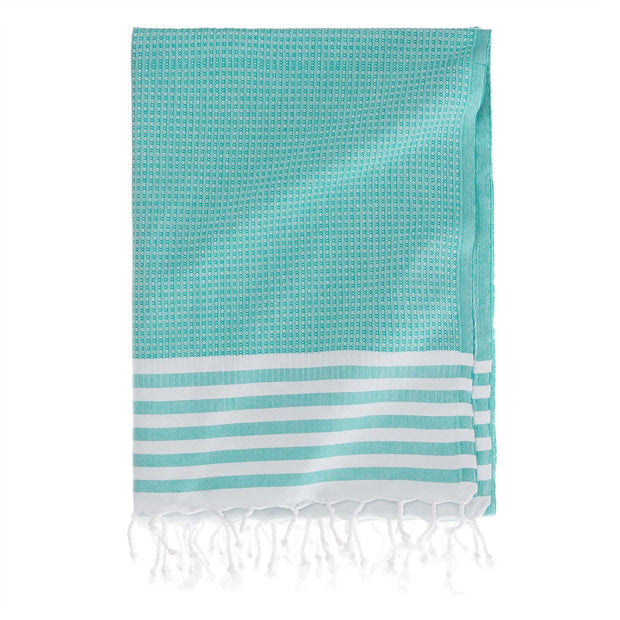 Kayseri hammam towel, green grey & white, 100% cotton
