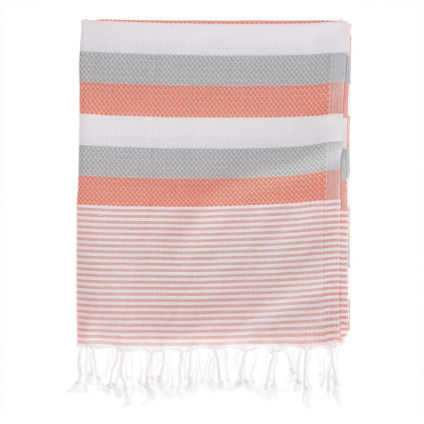 Konya hammam towel, papaya & light grey & white, 100% cotton