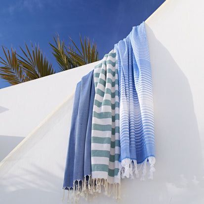 Laza Hammam Towel in ultramarine & white | Home & Living inspiration | URBANARA
