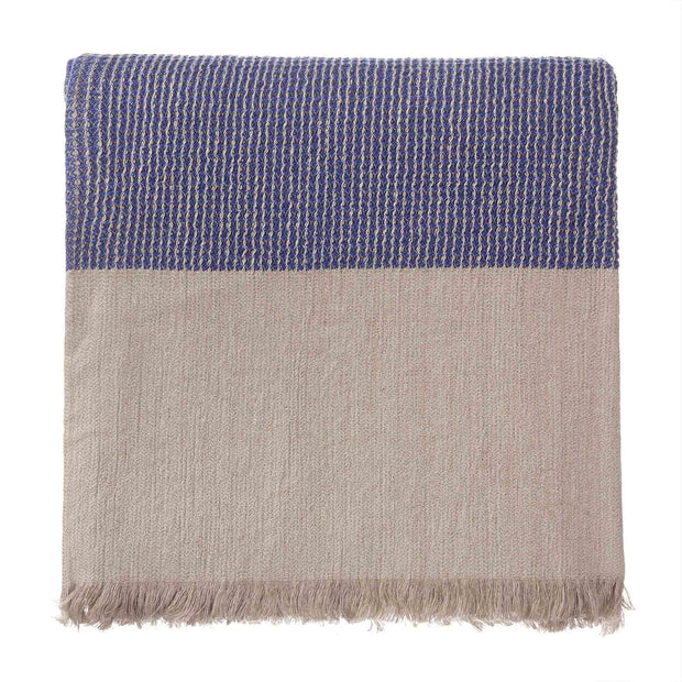 Kovai blanket, ultramarine & natural, 50% linen & 50% cotton