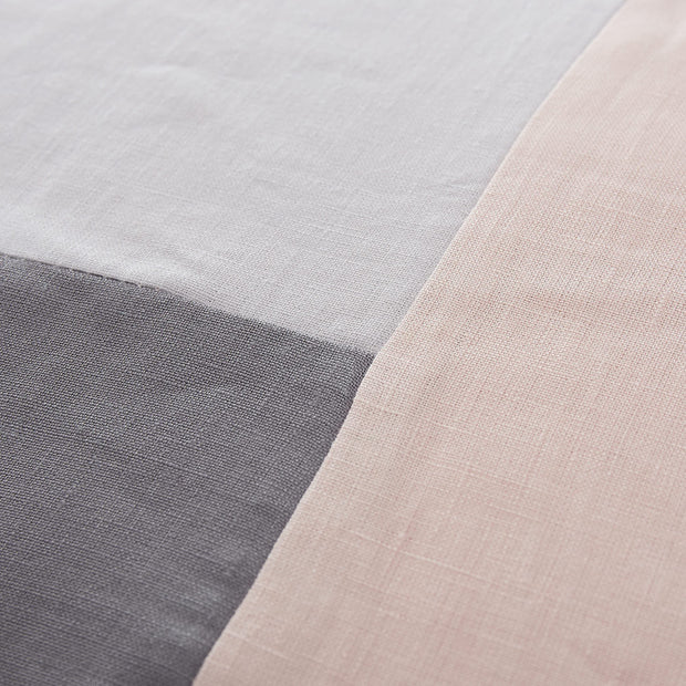 Cataya cushion cover, light grey & charcoal & light pink, 100% linen | URBANARA cushion covers