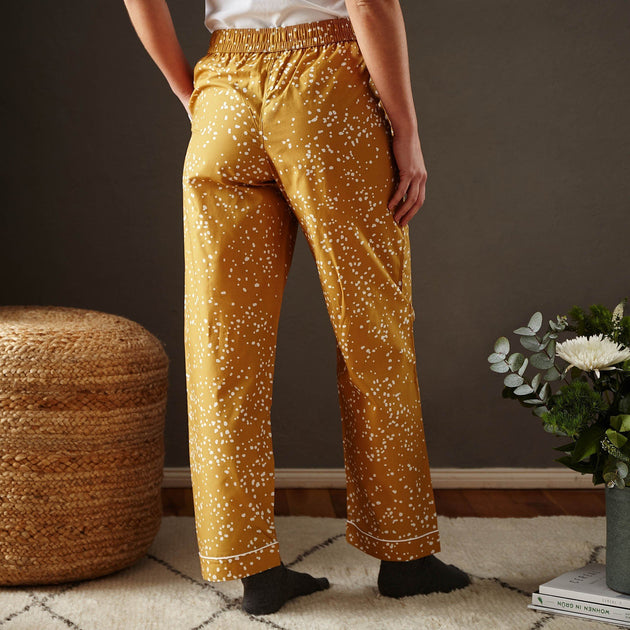 Cova pyjama, mustard & white, 100% cotton | URBANARA nightwear