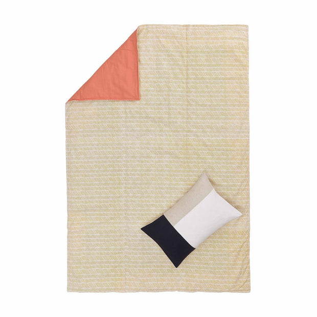 Avola picnic blanket, bright mustard & natural white & papaya, 100% cotton & 100% polyester