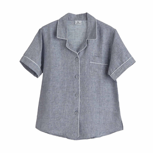 Casaal pyjama, dark grey blue & white, 100% linen & 100% cotton