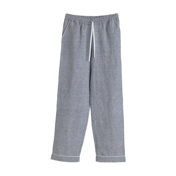 Casaal pyjama in dark grey blue & white, 100% linen & 100% cotton |Find the perfect nightwear