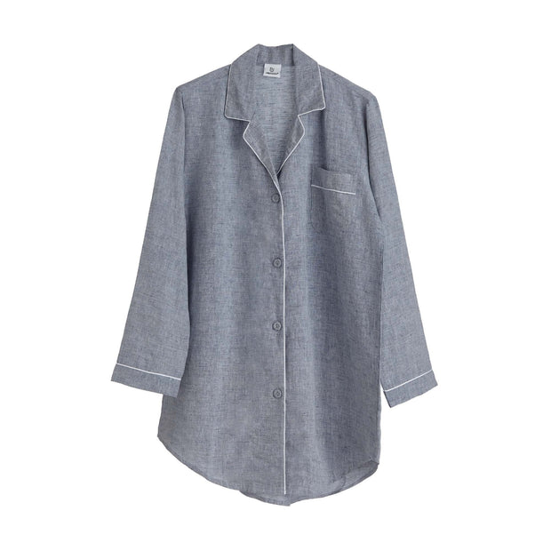 Casaal Nightshirt dark grey blue & white, 100% linen & 100% cotton | URBANARA nightwear