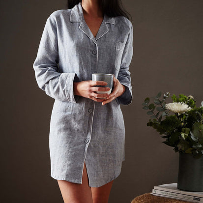 Casaal Nightshirt dark grey blue & white, 100% linen & 100% cotton
