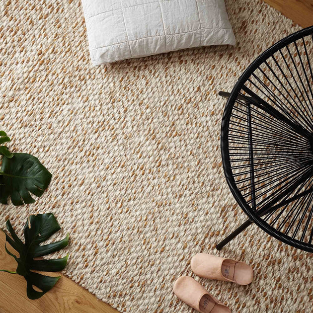 Salo Rug in cognac & warm beige & natural white | Home & Living inspiration | URBANARA
