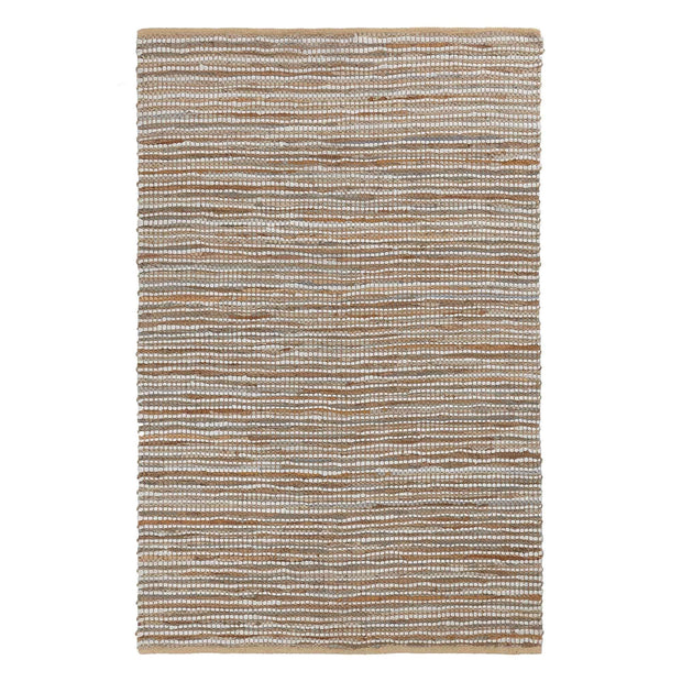Metz Rug warm brown & natural, 20% jute & 20% leather & 60% cotton | URBANARA jute rugs