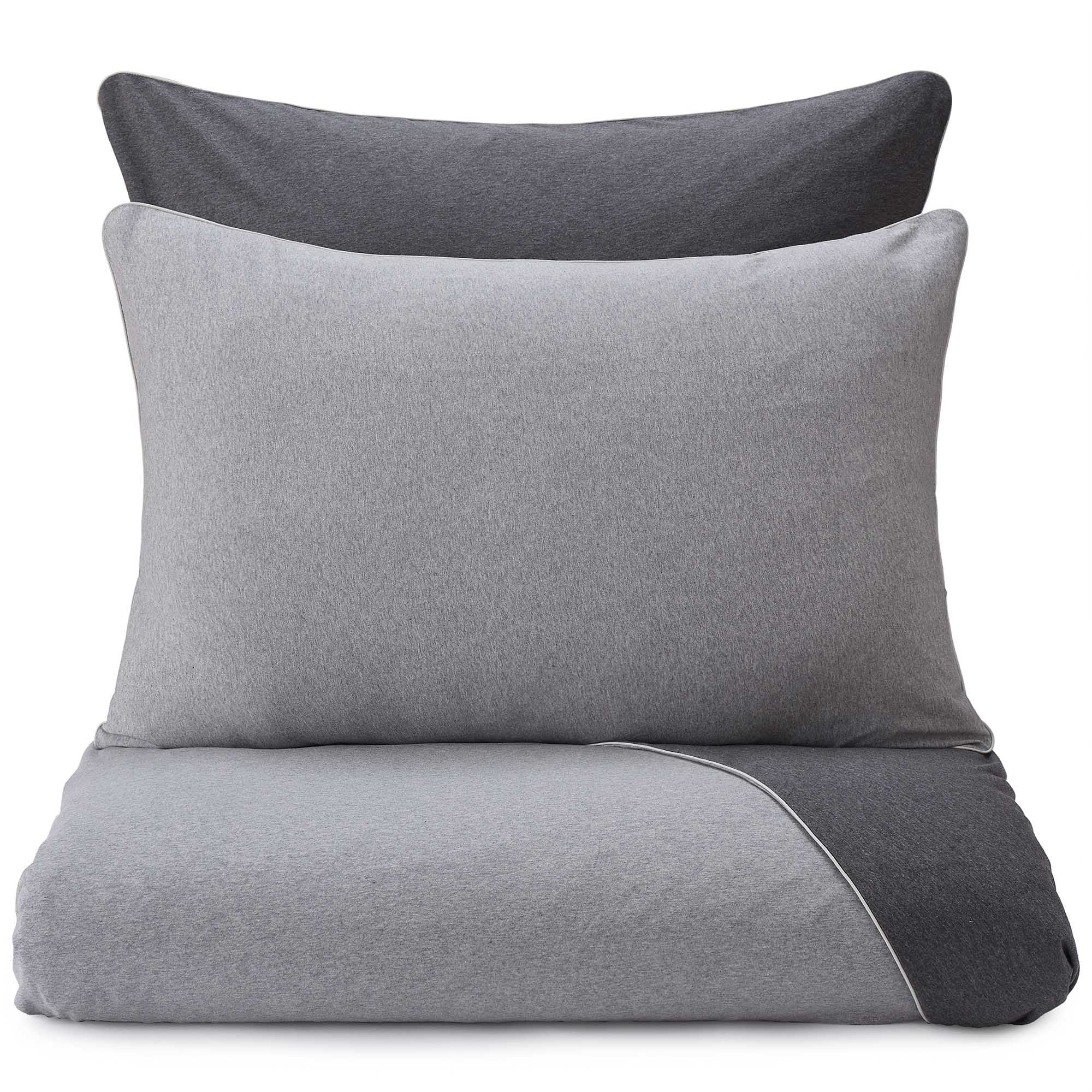 Coria duvet cover, light grey melange & charcoal melange & grey, 100% cotton
