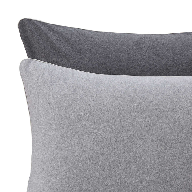 Coria duvet cover, light grey melange & charcoal melange & grey, 100% cotton | URBANARA jersey bedding